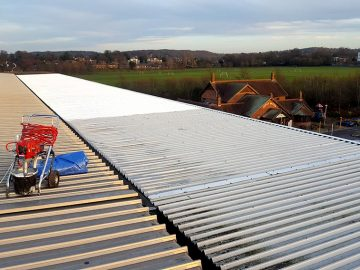 Image of cladding on roof of commercial premises