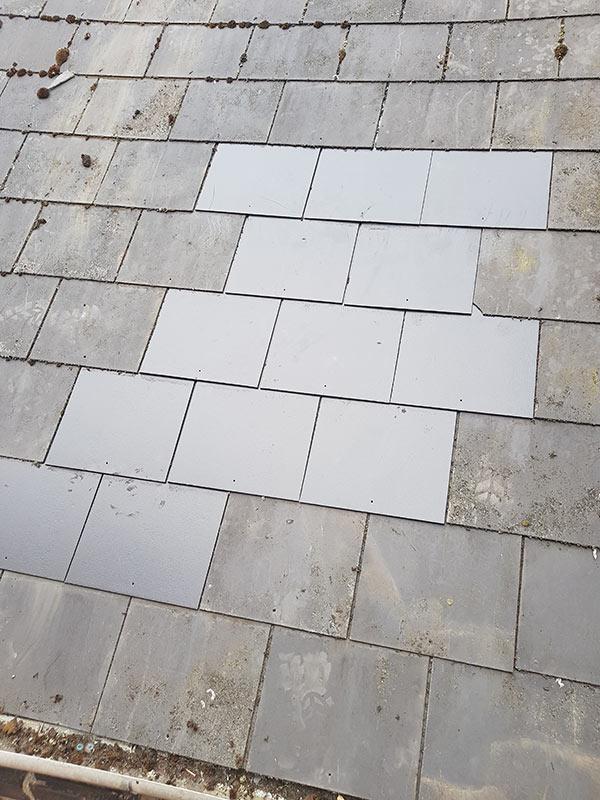 General roof repair using slate tiles